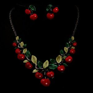 Betsey Johnson Red Cherry Necklace Earring Set